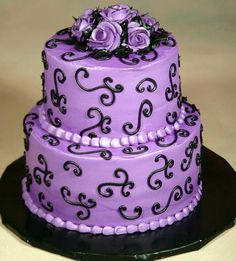 white black and purple wedding cakes pictures