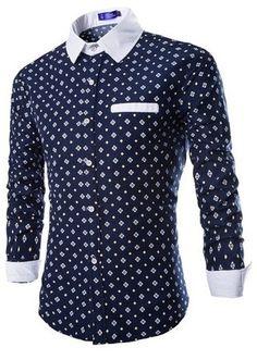 Camisa Casual Slim FIt Fashion Floral y de Puntos - Detalles en Contraste -  en Azul a873a225ccfc5