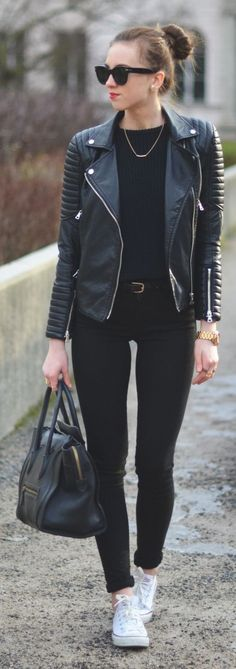 Black Leather Quilted Sleeve Biker Jacket by Vogue Haus