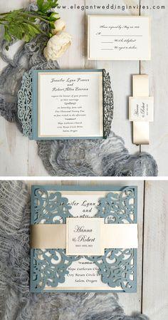 Dusty blue and cream white laser cut wedding invitation EWWS306 #ewi #weddinginvitations