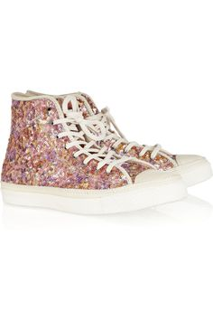 Converse Sequined leather high-tops $100