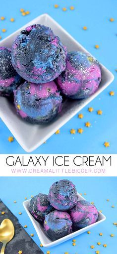 Impress guests with this super easy, no churn/ice cream maker galaxy ice cream. Make grape or the flavor of your fave fruit juice... it's out of this world!