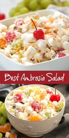 The Best Ambrosia Salad {No Cool Whip} - A dreamy fruit and coconut salad with marshmallows and pecans. The Best Ambrosia Salad {No Cool Whip} - A dreamy fruit and coconut salad with marshmallows and pecans. Fruit Salad Making, Best Fruit Salad, Fruit Salad Recipes, Appetizer Recipes, Summer Fruit Salads, Fruit Salads For Thanksgiving, Salad With Fruit, Fruit Cocktail Salad, Christmas Fruit Salad