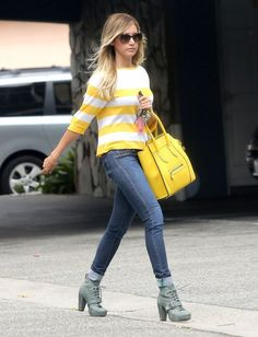 Ashley Tisdale with a yellow Celine tote and yellow and white striped top, celebrity street style