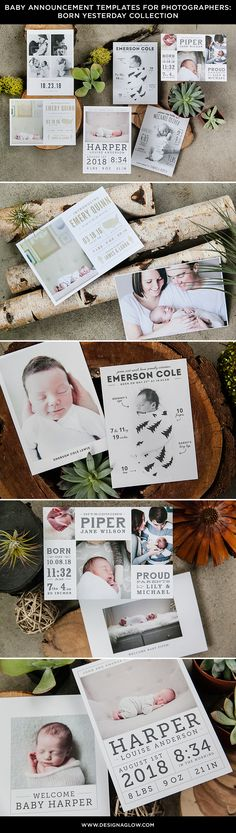 Baby Announcements: Born Yesterday Collection #designaglow