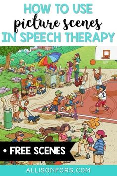Picture Scenes in Speech TherapyYou can find Speech therapy and more on our website.Picture Scenes in Speech Therapy Preschool Speech Therapy, Speech Therapy Games, Speech Language Pathology, Speech And Language, Halloween Speech Therapy Activities, Toddler Speech Activities, Play Therapy, Apraxia, Wh Questions