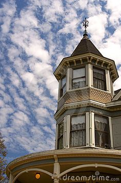 Photo about A cloud-filled sky is the backdrop for the windows of a Victorian home in California. Image of cupola, clouds, gingerbread - 115047 Victorian Design, Victorian Decor, Victorian Homes, Miniature Dollhouse Furniture, Dollhouse Miniatures, Victorian Windows, Small World, Stained Glass Windows, Old Houses