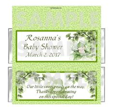 ADORABLE!!  FOR A LITTLE SWEET PEA THAT IS ON THE WAY!! PEA IN A POD green peapod SWEET PEA BABY SHOWER candy bar wrappers FREE FOILS