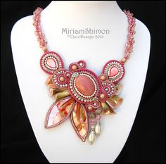 Pink+and+Coral+Soutache+beaded+necklace+with+door+MiriamShimon,+$225.00