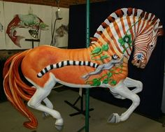 Quagga, an extinct type of zebra once found in Southern Africa. Carousel horse. The non-profit Albany Carousel Carving and Painting Studio is working on a terrific long-term volunteer project (no experience necessary!).