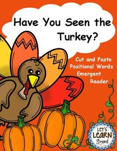 Turkeys, Emergent Reader, Positional Words, Thanksgiving A
