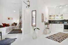 Klein appartement - wit scandinavisch interieur