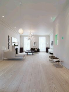 White floors . wide wood plank floors Notting Hill Townhouse