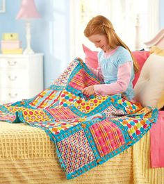 Video with kids patchwork quilt directions