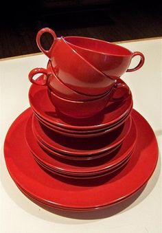 Vintage Red Melmac Dinnerware Service for 4 Excellent by snogirl, $26.00