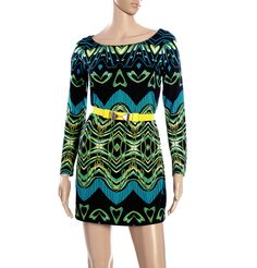 DVF - LS GEOPRINT WIDE SHOULDER DRESS  Bring out your Bohemian side with this wide shouldered full sleeved multi coloured abstract printed short fitted dress. Wear yellow cork wedges to compliment the belt and a wide brimmed hat if wearing during the day.  www.brandsndeals.com
