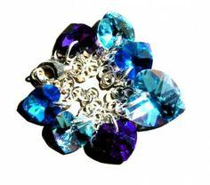 Srebrna Bransoletka z Zawieszkami Charms Swarovski Blue Hearts. Srebro p.925 #Swarovski #jewelry #bizuteria