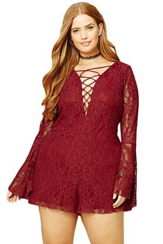Plus Size Floral Lace Long Bell Sleeves Lace-up Red Romper 2e529baef391