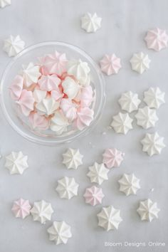 Mini Meringue Kisses by Bloom Design- a great easy cookie fror Valentines Day but simply change the color a shape to fit any event