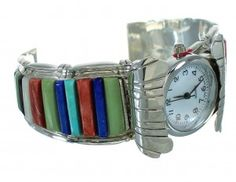 Sterling Silver Multicolor Inlay Cuff Watch www.silvertribe.com