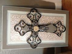 Stacked crosses on a cabinet door
