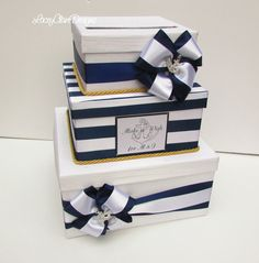 Nautical themed money card box - Perfect for a nautical/beach event    3 tier square Card Box Gorgeously upholstered with dupioni silk fabric and satin ribbon, custom MADE TO ORDER (SEE BELOW ON HOW TO ORDER). Every box is expertly custom made for you with 100% dupioni silk, satin, and other high quality materials (not painted or covered in paper so no worried about flaking or tearing).    Card Box can easily hold 350 plus cards; 12 wide by 17 tall; very thick and durable; cards freefall all…