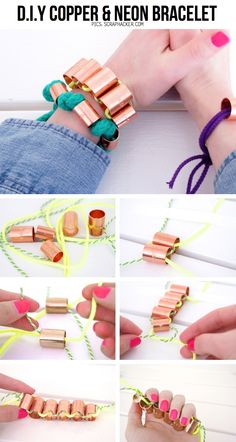 DIY Chunky copper and neon bracelets, tutorial here: http://scraphacker.com/copper-bracelets/