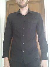 Men's Medium size Black pinstriped Long sleeve Shirt - River Island