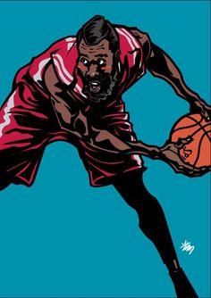 Houston Rockets all-NBA bearded threat James Harden illustrated by artist Min-suk Kim from South Korea.