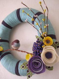 Blue Purple Bird Yarn Wreath 12 by polkadotafternoon on Etsy, $42.00