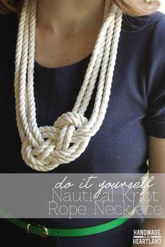 DIY Nautical Knot Rope Necklace. Photo tutorial. So cute! HandmadeintheHeartland.com
