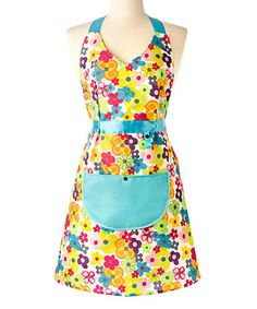 Loving this Aqua & Fuchsia Floral Watercolor Apron on #zulily! #zulilyfinds