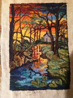 Deep in the woods.by Elaine Armenta from Rug Hooking Daily Rug Hooking Designs, Rug Hooking Patterns, Rya Rug, Punch Needle Patterns, Latch Hook Rugs, Rug Inspiration, Hand Hooked Rugs, Wool Art, Penny Rugs