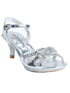 Silver Intricately Rhinestoned Girls Sandals FINAL SALE (9 and Youth 1-3 Size) Only 2 Left - Girls Shoes - SHOES