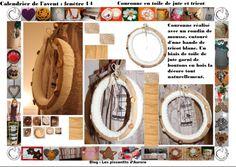 NOËL calendrier de l'avent : couronne de l'avent réalisée avec un tube de mousse décoré d'un tricot blanc et d'un ruban de jute, quelques boutons en bois la décor