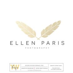 Golden Feather logo perfect for photographers or boutique shops. Premade logos are quick, easy and budget friendly.