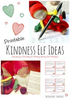 Printable Kindness Elf Ideas for Busy Parents wanting to focus on encouraging our children to love others and be kind.  Plus it's a sneaky way to get in Reading and Writing during the holidays!  #kindnesselves #elfontheshelf alternative from The Educators' Spin On It