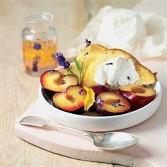 French mild goat's cheese with plums in lavender syrup Recipe   delicious. Magazine free recipes