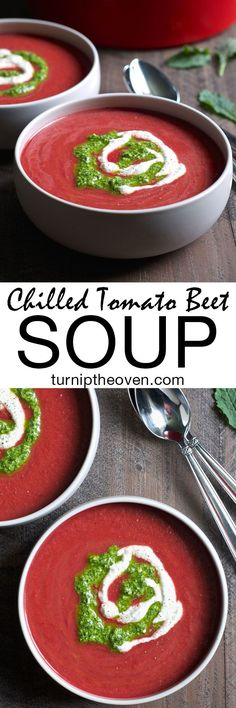 If you like gazpacho, you will love this chilled tomato beet soup swirled with pesto! Quick, healthy, and VEGAN, it's the perfect light warm weather meal!