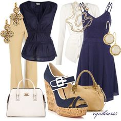 Navy and tan with a splash of white and gold accents