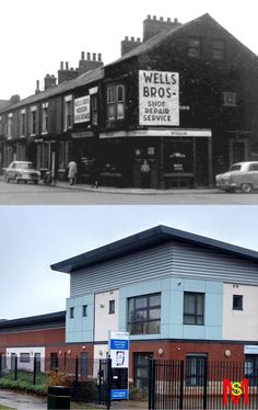 The corner of Cromwell Street and Worsley Street, North Ormesby, Middlesbrough late 1960's and 2016