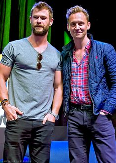 Actors Chris Hemsworth and Tom Hiddleston attend 'Brotherly Love Asgard Style' QA discussion during Wizard World Comic Con Philadelphia 2016 Day 3 at. Thomas William Hiddleston, Tom Hiddleston Loki, Loki Thor, Loki Laufeyson, Snowwhite And The Huntsman, The Mighty Thor, Star Track, Brotherly Love, Pretty Men