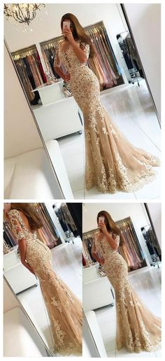 Short Sleeve Sexy Lace Mermaid Evening Prom Dresses, Long Sexy Party Prom Dress, Custom Long Prom Dresses, Cheap Formal Prom Dresses, 17136