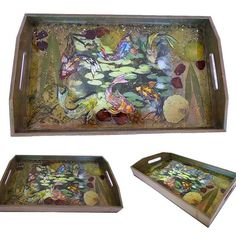 """Handcrafted koi fish tray   """"Among the lily pads""""   These decorative trays are a beautiful way to serve your guests drinks and snacks. Cool drinks by the pool or breakfast in bed. A lovely housewarming gift. My Handcrafted decorative wood jewelry & keepsake boxes, trays and lanterns are one of a kind functional pieces of art.  Visit my ETSY shop at: https://www.etsy.com/shop/WoodSensations #art #nature #servingtray #handmade #housewarming #collage #woodtray #flora #fish #koi #mixedmedia…"""