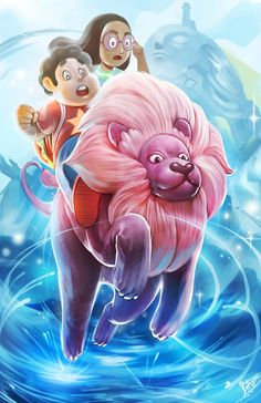 Steven and Connie Riding Lion Steven Universe 11 x by Wizyakuza Cartoon Drawings, Cartoon Art, Lion Steven Universe, Cartoon Network Shows, Pokemon, Cool Cartoons, The Wiz, Famous Artists, Book Art