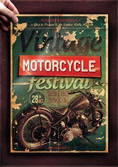 Vintage Motorcycle Flyer Poster Printing