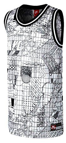 """Men's Nike Air NYC """"The Streets"""" Printed Basketball Jersey Tank Top, White/Black (X-Large). Available while supplies last! http://www.amazon.com/dp/B01C9Y71I8/ref=cm_sw_r_pi_dp_e.O9wb1NZDDP3"""