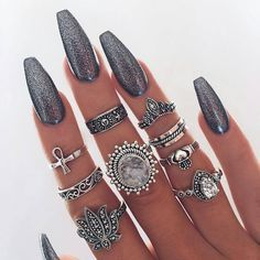 Boho Spirit Rings - Meyfflin Punk Knuckle Ring Set Fashion Midi Finger Rings for Women Boho Jewelry Accessories Vintage Bague Femme Set from BohoGipsy,Store Gorgeous Nails, Love Nails, How To Do Nails, Pretty Nails, My Nails, Amazing Nails, Fancy Nails, Nail Art Designs, Set Fashion