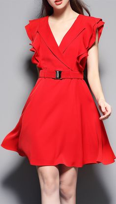 Ruffle Sleeve Flare Dress