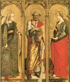 """CARLO CRIVELLI (1435 – 1495)   Polittico di Montefiore. Chiesa di Santa Lucia, Montefiore dell'Aso. *Sull'opera: """"Il polittico di Montefiore"""" è un un complesso pittorico autografo di Carlo Crivelli, realizzato con tecnica a tempera su tavola nel periodo a ridosso del 1470 (probabilmente nel 1471-72). Si trova diviso a """"scomparti"""" nei vari musei, gallerie, pinacoteche e chiese del mondo."""
